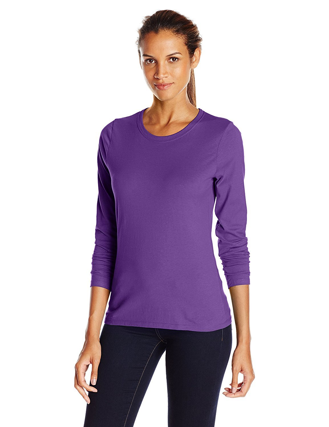 Hanes Women's Long-Sleeve Crewneck T-Shirt_Violet Splendor_Medium_Violet Splendor_Medium