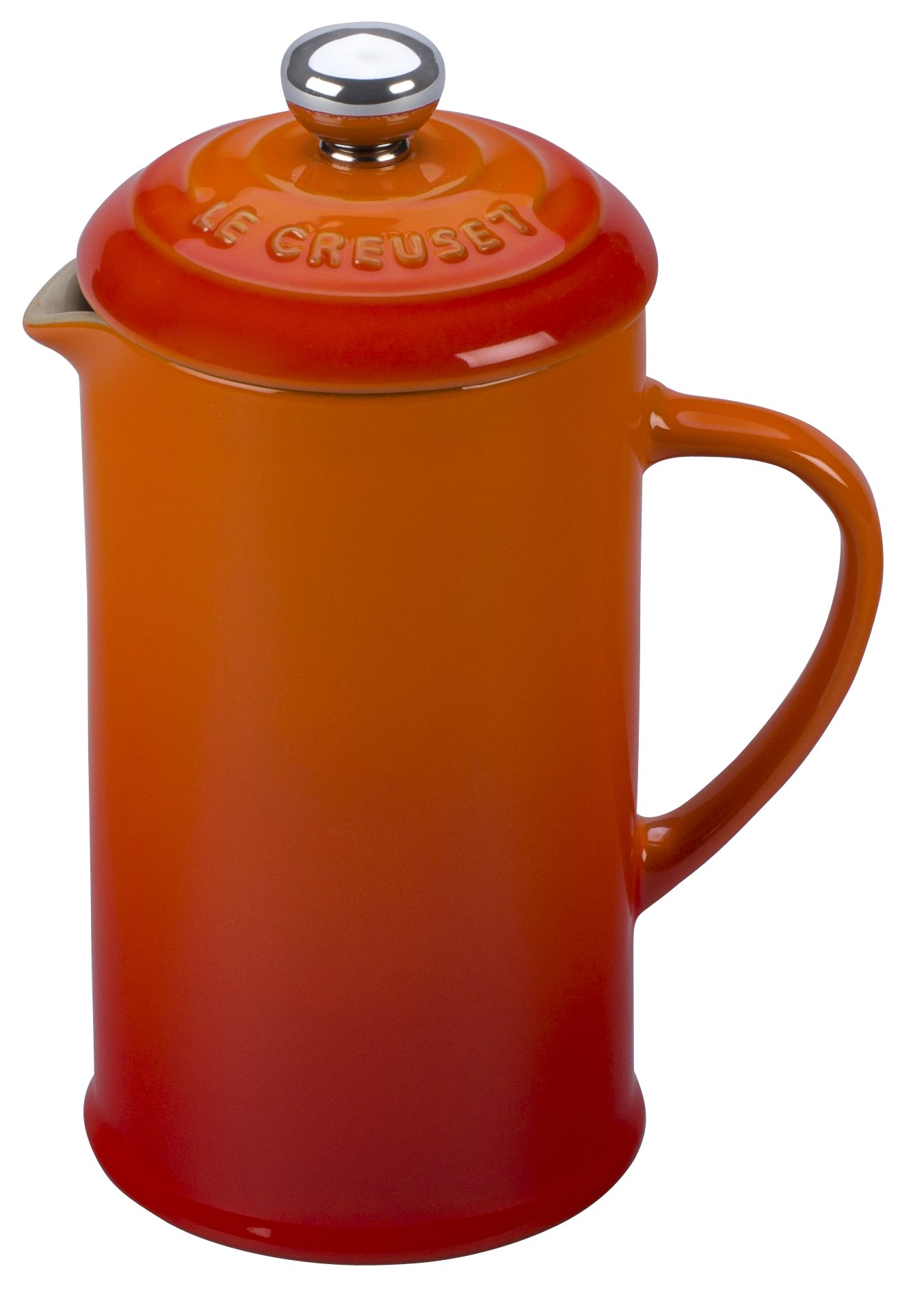 Le Creuset of America Stoneware Petite French Press, 12 oz, Flame