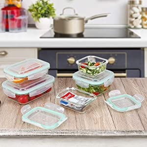 Re.cook Food Storage Container Set with Lid Airtight, BPA Free meal prep containers, Clear Kitchen Canister Set for Home and Camping, Microwave & Dishwasher Safe,10 piece
