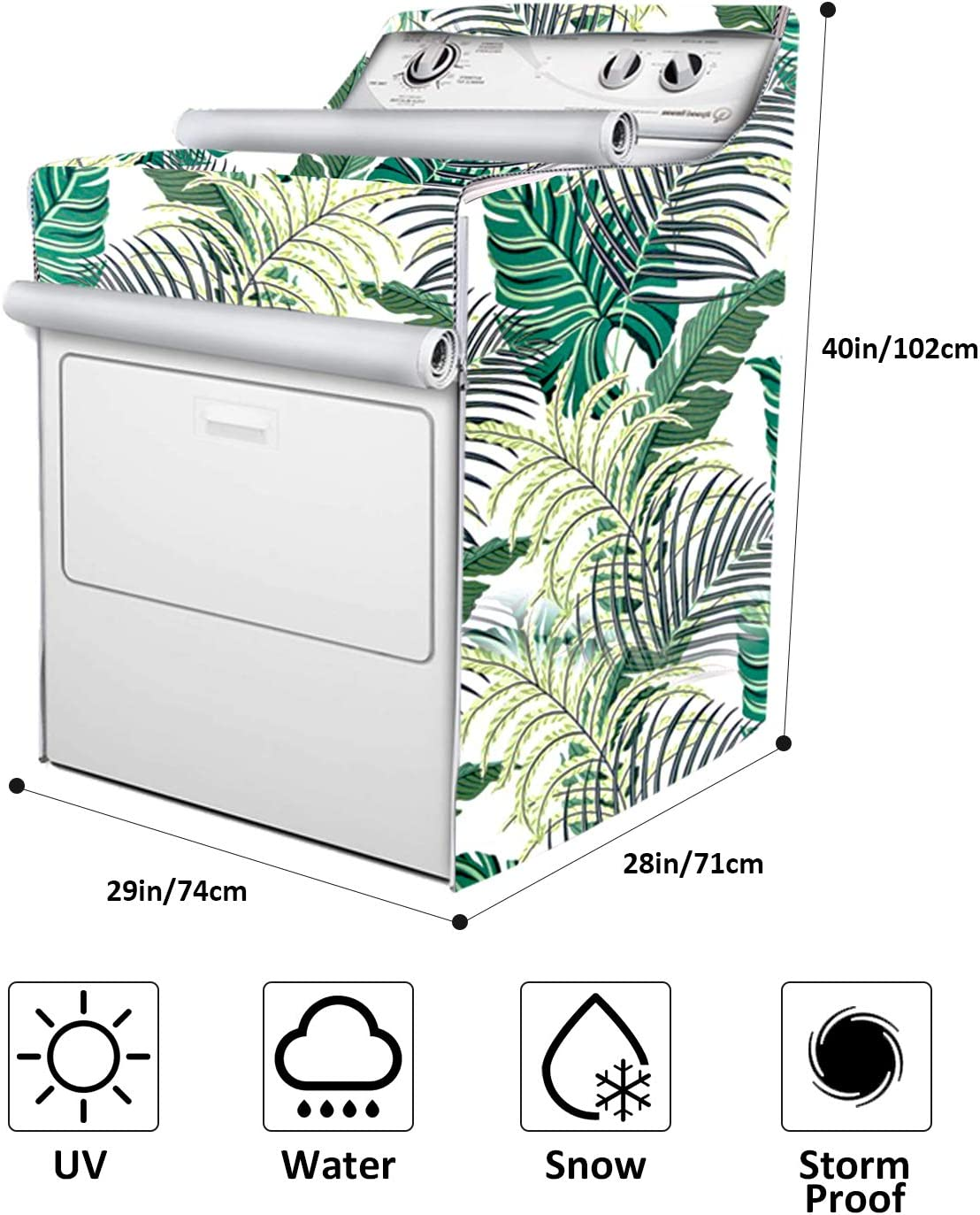 Washer//Dryer Cover,Fit for Outdoor Top Load and Front Load Machine,Zipper Design for Easy Use,Waterproof Dustproof Moderately Sunscreen Green Forest