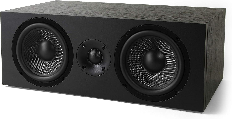 NEUMI CS5 Center Channel Speaker, Dual 5-Inch Woofers, 1-Inch Tweeter, Dark Wood, Single
