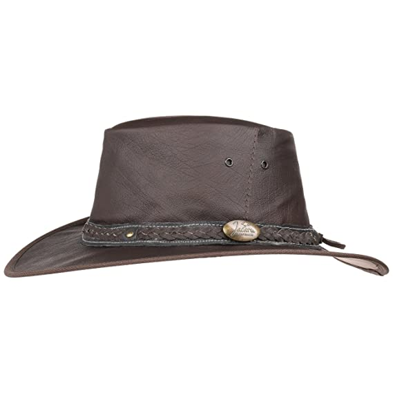 17b42e86f48 Jacaru Roo Nomad Leather Hat Men´s Outback (L (57-58 cm) - Brown ...