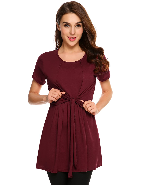 Meaneor Womens Short Sleeve Round Neck Nursing & Maternity Shirt Tops **MAH011634