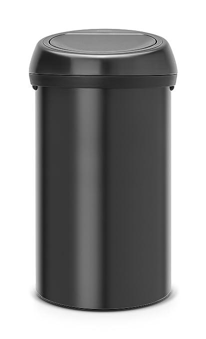 Brabantia Touch Bin - Cubo de Basura, 60 litros, Color Negro Mate con Tapa