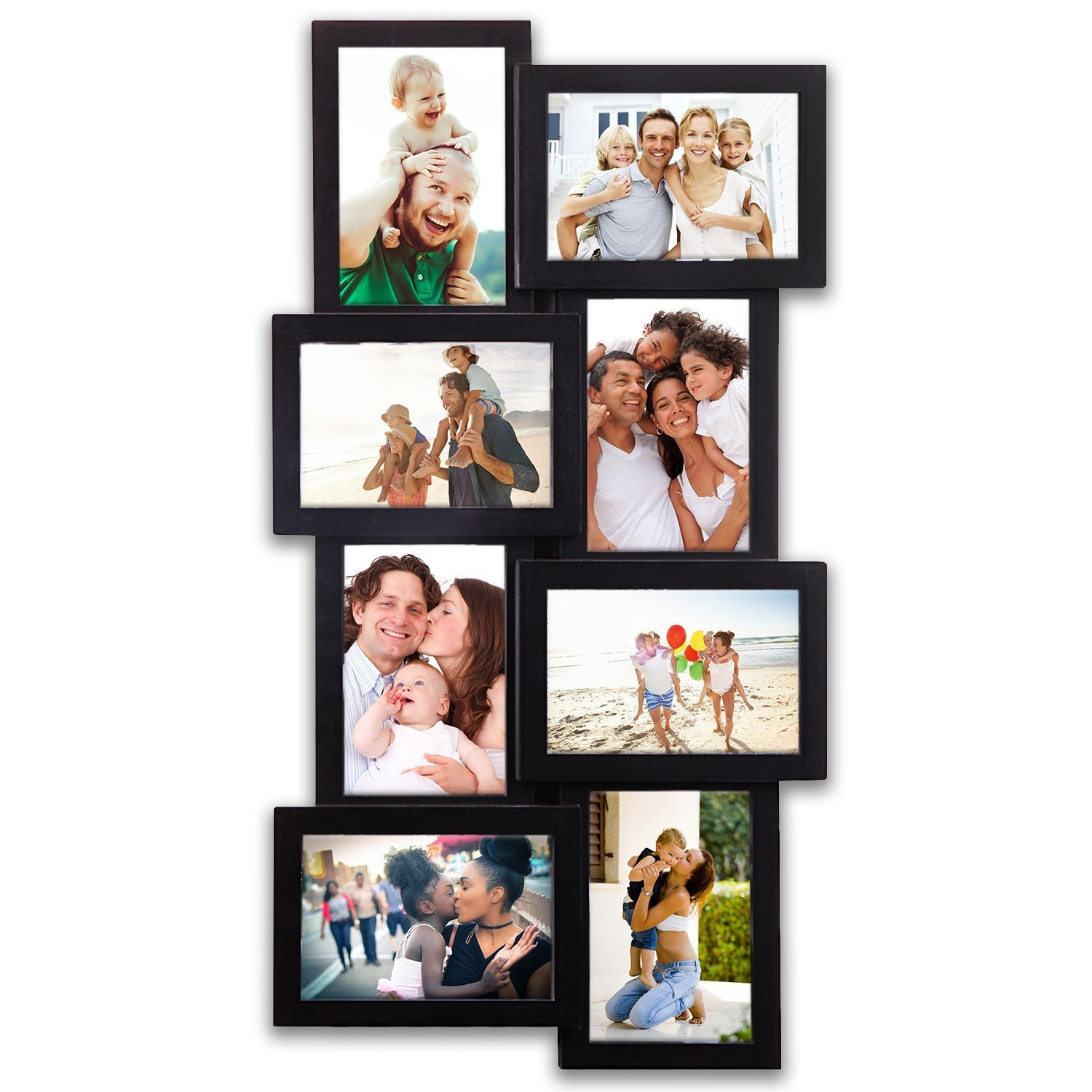 8 Opening Gallery Collage Wall Hanging Frame Set 12 by 23'' inch For 4 x 6'' inch Photo, 8 Sockets, Black Edge | By Hello Laura