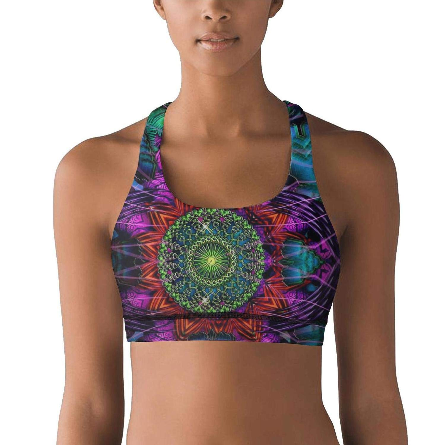 Migny Hills Womens Light Support Athleisure Sports Bras Trippy Eyes Psychedelic Yoga Bra with Removable Pads