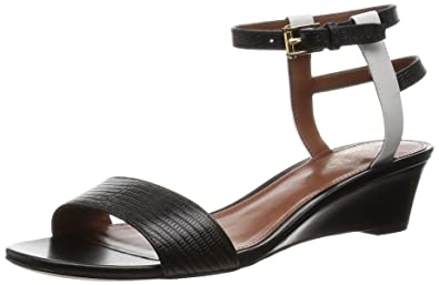 f3d3c6fefbca Cole Haan Women s Ayana Wedge Sandal Lizard Print Optic White Black  Leather