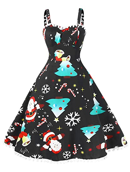 BeautyGal Women\'s Vintage Christmas Dress Plus Size Pompom Ugly Xmas Party  Dresses