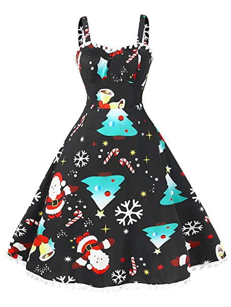 Christmas Party Dresses.Beautygal Women S Vintage Christmas Dress Plus Size Pompom Ugly Xmas Party Dresses