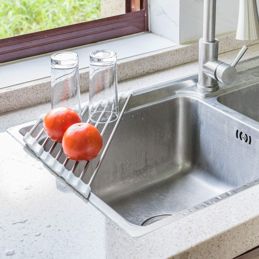 Roll Up Dish Drying Rack For Sink Corner Triangle Heavy Duty Heat Resistant Over The Sink Drying Rack Roll Up Drainer Mat With White Silicone Grips And Stainless Steel Pipes 17 5x9 2