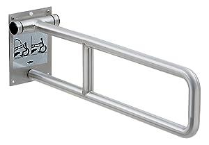 Bobrick 4998.99 304 Stainless Steel Swing-Up Grab Bar, Peened Finish, 29