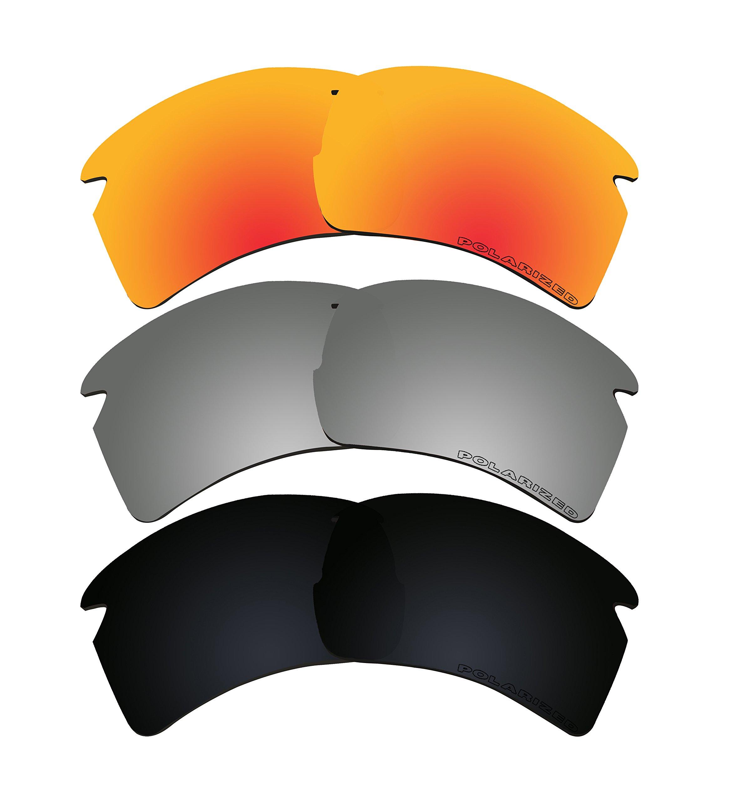 3 Pairs Polarized Lenses Replacement K1 for Oakley FLAK 2.0 XL Sunglasses