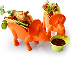 Taco Holder Dinosaur for Kid Set of 3,Dinosaur Tortilla Taco Stand Hold 2 Taco Each