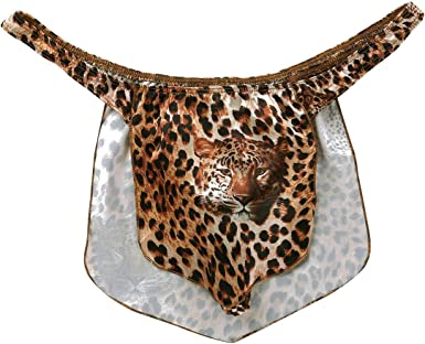 Agoky Mens Leopard Jungle Loincloth Animal Thong Male Power Thongs Novelty Underwear