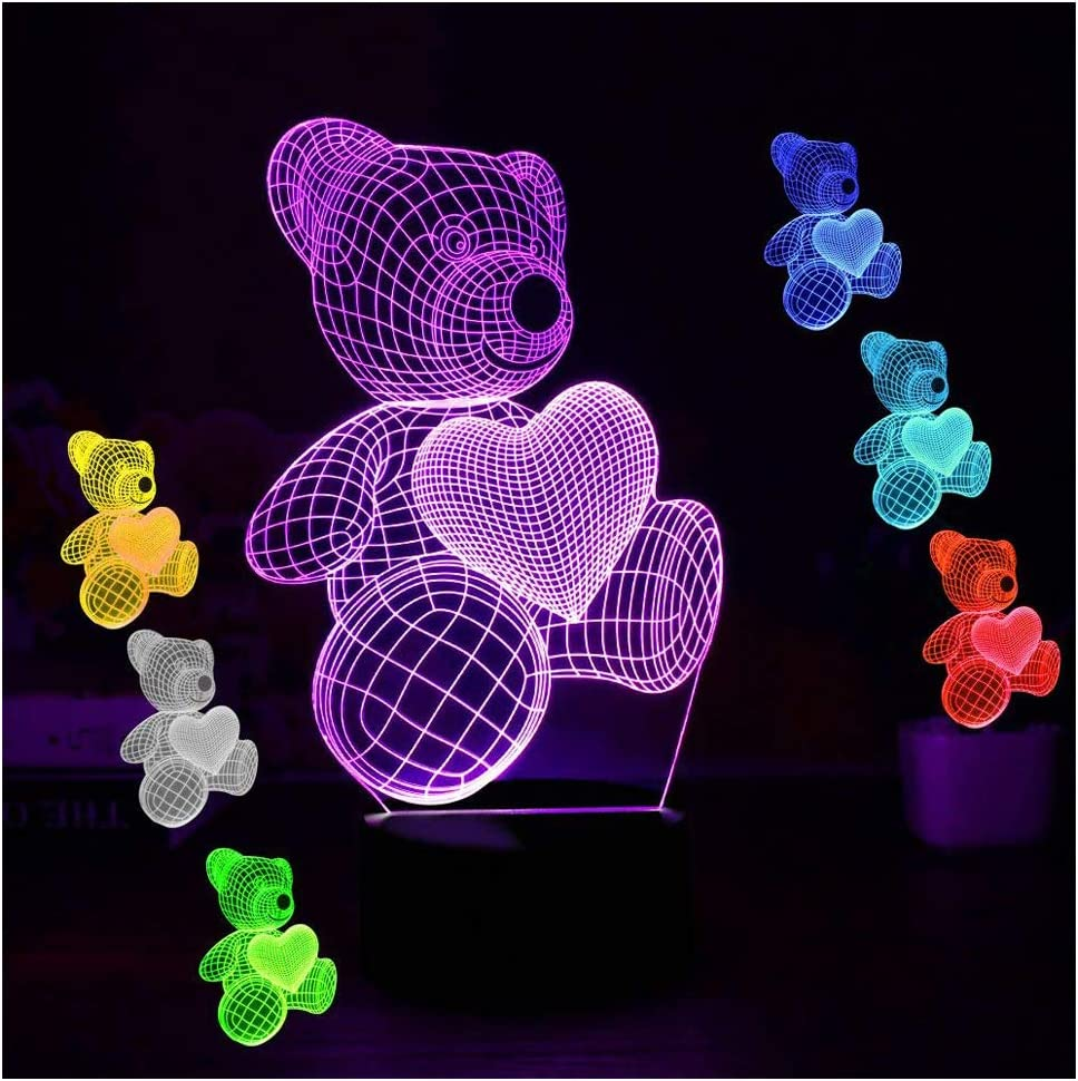 Valentines Day Gifts for Teddy Bear Night Lights for Kids Women Mom Girls 3D Illusion Lamp Led Desk Lamps Gifts for Daughter Teens Home Decor Office Bedroom Party Decorations Nursery 7 Color Children