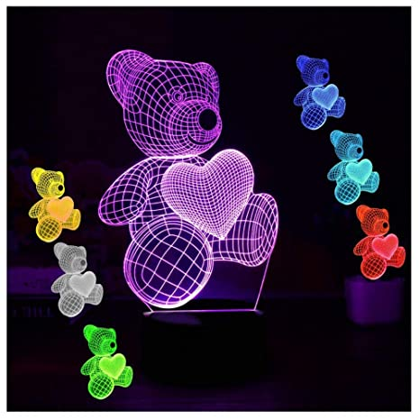 Lights & Lighting Cute Heart Bear 3d Led Illusion Night Light Touch Table Desk Lamps Color Lights For Kids Gifts