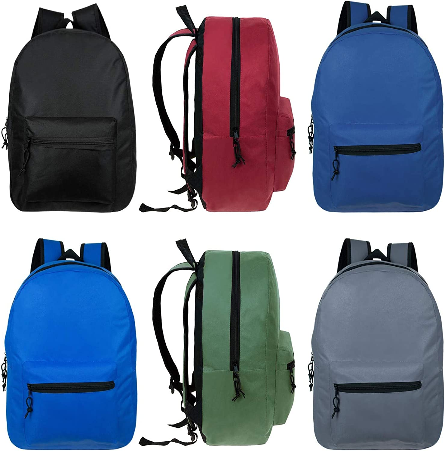 17 Inch Bulk Backpacks in Assorted Colors with 12 Piece School Supply Kits Wholesale Case of 24