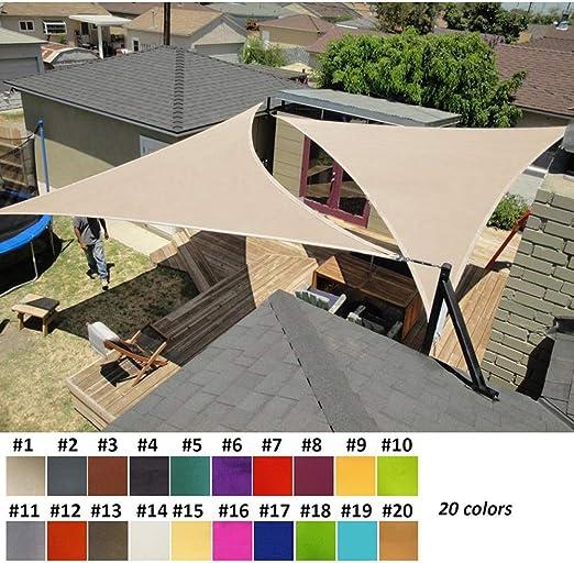 Nevy - Triangular Impermeable Toldo Vela de Sombra, Vela Solar para Patio, Exteriores, Jardín, Protección UV 160gsm 20 Colores (Color : #1, Size : 2.5x2.5x2.5m): Amazon.es: Jardín