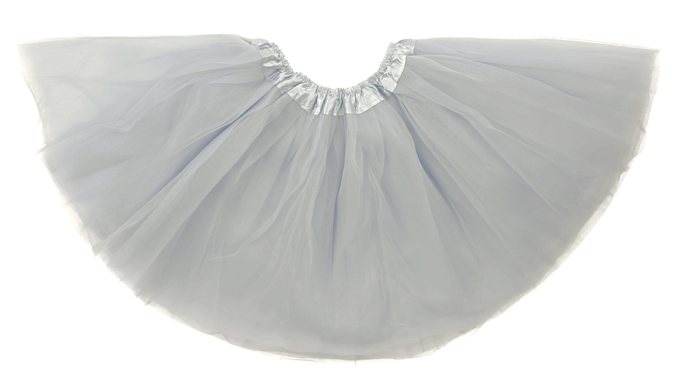 Dancina Tutu Tweens 5k 10k Fun Dash Run Classic Vintage 3 Layer Puffy Tulle Skirt 8-13 Years Grey
