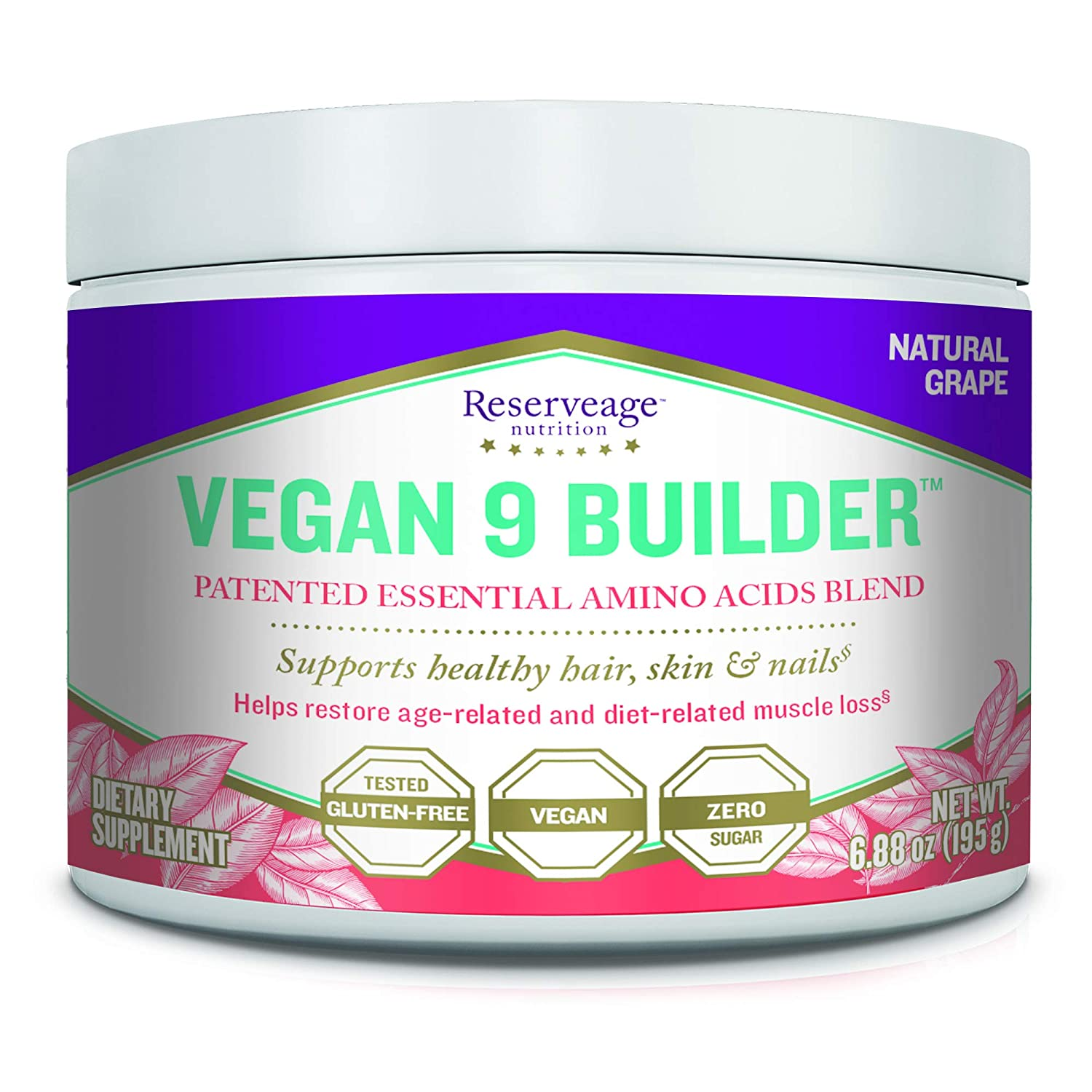Reserveage, Vegan 9 Builder, Essential Amino Acids Blend to Support Healthy Hair, Skin and Nails, 6.88 oz 30 servings , Natural Grape Powder