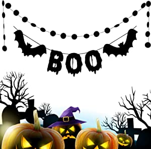 Halloween Party Decor Supplies,Black Glittery Boo Bat Banner and Black Glittery Circle Dots Garland (25 Pcs Circle Dots) for Haunted House Outdoor Indoor Fireplace Decoration