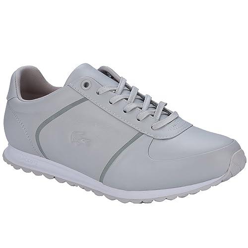 Lacoste - Zapatillas de Piel para Mujer Gris Gris, Color Gris, Talla 37 1/3: Lacoste: Amazon.es: Zapatos y complementos
