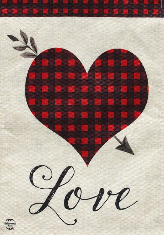 Briarwood Lane Love Heart Valentine's Day Burlap Garden Flag Everyday Plaid 12.5