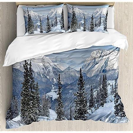 Copripiumino Paesaggio Invernale.Snbin Set Copripiumino Invernale Paesaggio Invernale Con Boschi