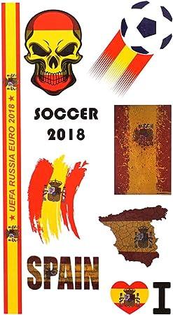 2018 Balón de Fútbol Juego Bandera Nacional Cuerpo Pegatinas Tatuaje Pegatinas Football Night Party Decor Sticker para Fanáticos del Fútbol Fans España: Amazon.es: Hogar