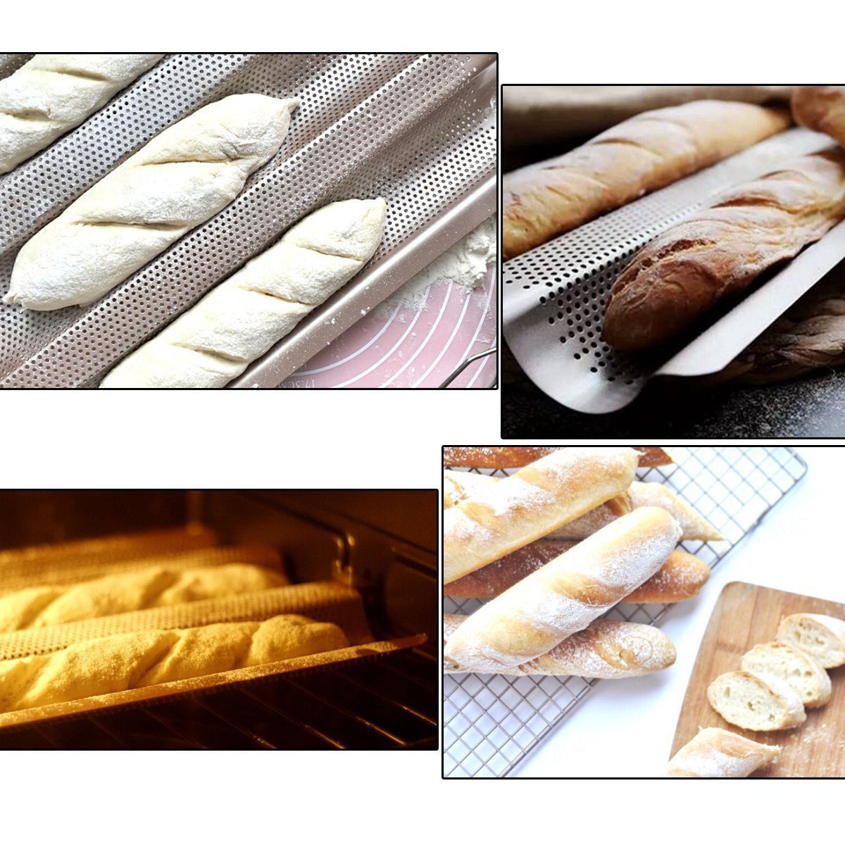 Delidge 3 Gutters Non-stick Aluminized Steel Perforated Baguette Pan French Bread Pan Wave Loaf Bake Mold,Loaf Baking Pan,Wave Baking Molds Commercial Baguette mold for Artisan Bread 2x10.5inch by Delidge (Image #7)