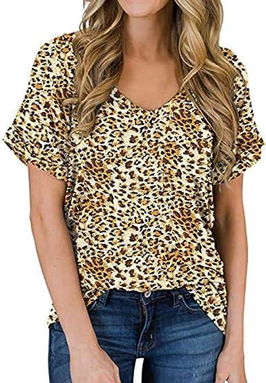 Camiseta Mujer Verano Moda Casual Manga Corta Leopardo Impresión Blusa Elegante Camisa Cuello en V Basica Camiseta Suelto Tops Fiesta Original T-Shirt tee: Amazon.es: Ropa y accesorios