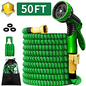 50ft Garden Hose Expandable,Flexible Water Hose with Solid Brass Fittings,Water Hose with 9 Function Spray Nozzle and Durable 3-Layers Latex, Leakproof Lightweight rubber Garden Water Hose
