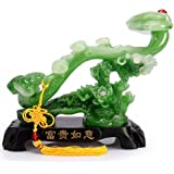 Wenmily Feng Shui Ruyi Statue+ Free Set of 10 Lucky Charm Ancient Coins on Red String, Chinese Charm of Prosperity Home Decoration Gift,Feng Shui Decor
