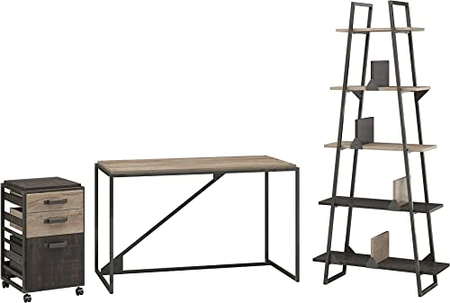 Bush Furniture Refinery 50W Industrial Desk with A Frame Bookshelf and Mobile File Cabinet in Rustic Gray