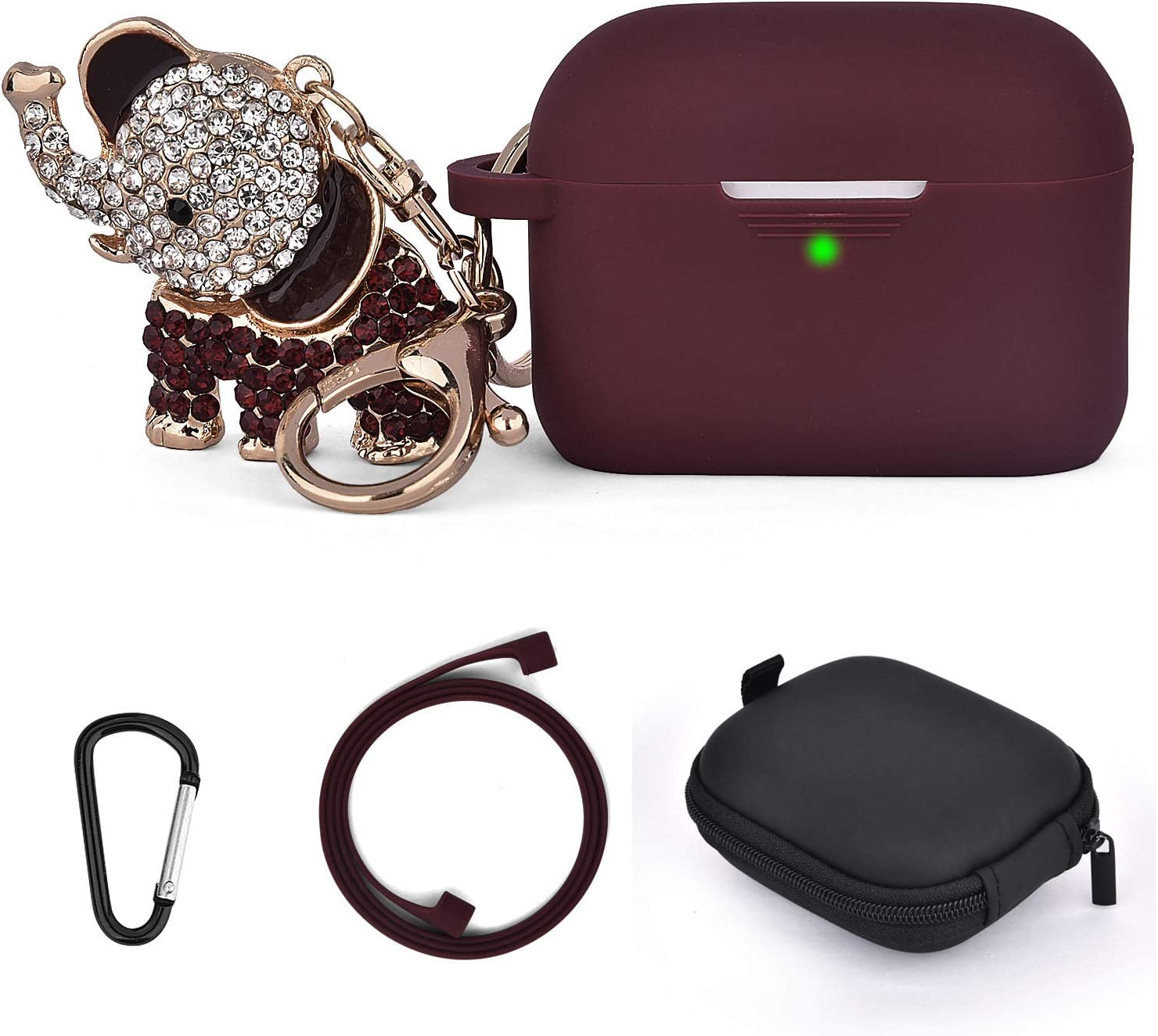Airpods Pro Case Cute, 5 in 1 Airpod Pro Protective Cases Silicone with Bling Elephant Keychain/Storage Box Compatible for Apple Airpods Pro Case Women Girls Men (Burgund)