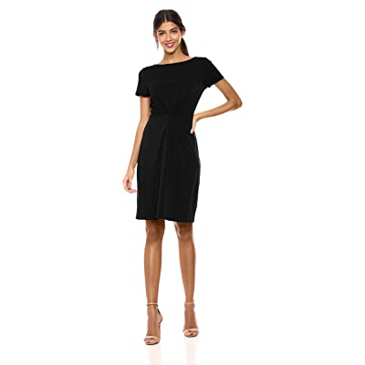 Lark & Ro Women's Crepe Knit Short Sleeve Center Twist Dress: Clothing
