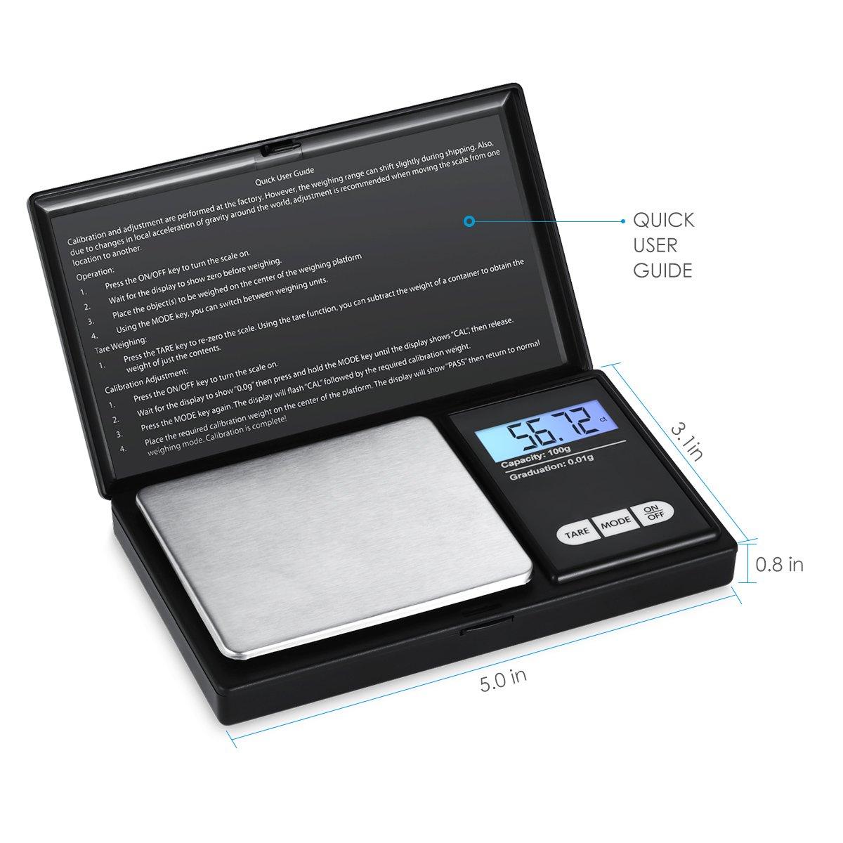 bilancia intelligente con display LCD retroilluminato e funzione tara 200g x 0.01g in acciaio INOX per Pasqua bilancia digitale tascabile, bilancia per gioielli batteria inclusa AMIR