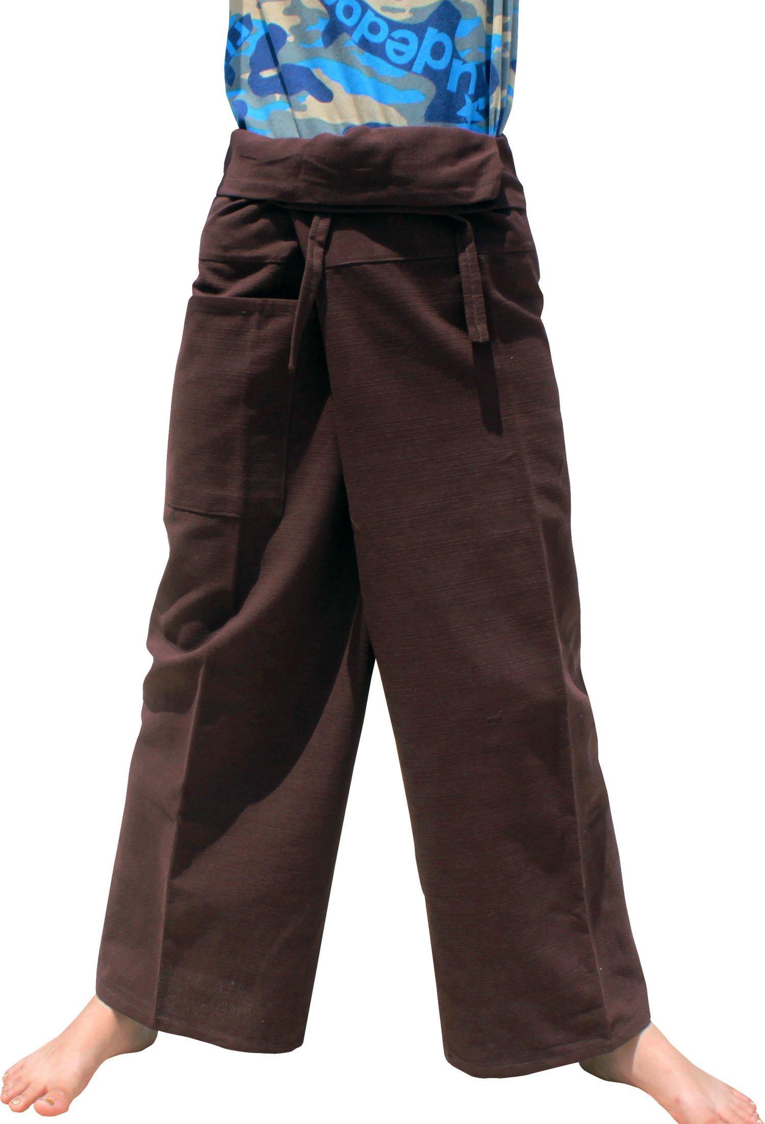 Raan Pah Muang Brand Plain Thick Line Cotton Thai Fisherman Wrap Tall Length Pants, Medium, Dark Sienna Brown by Raan Pah Muang