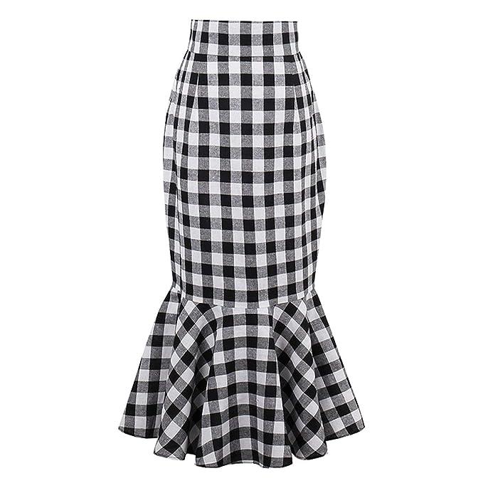 Faldas para Mujer Falda para Mujer A Cuadros Cola Mode De Marca De ...
