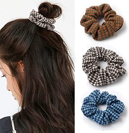 Genglass Plaid Hair Scrunchies Blue Hair Ties Elastics Hair Rope Ponytail Holders Hair Accessories For Women And Girls Pack Of 3 Amazon Co Uk Beauty