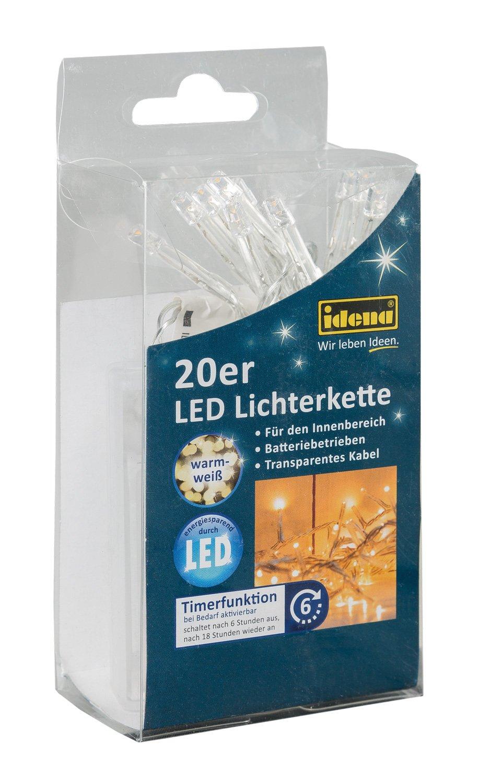 Idena LED Lichterkette, 20er warm weiß, für innen, batteriebetrieben, 8582052 20er warm weiß für innen IDEN Grosshandelshaus Berlin