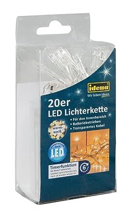 Idena LED Lichterkette, 20er warm weiß, für innen, batteriebetrieben ...
