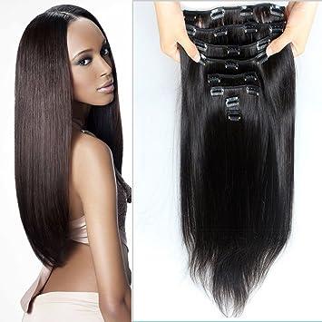 28   Long Straight Clip in Hair Extensions Natural Black  1B Virgin  Brazilian Clip 711327698