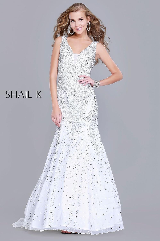 465ade61a1b Shail K Dresses V- Neck Sequin Mermaid Style Body Hugging Dress 1143  (Ivory