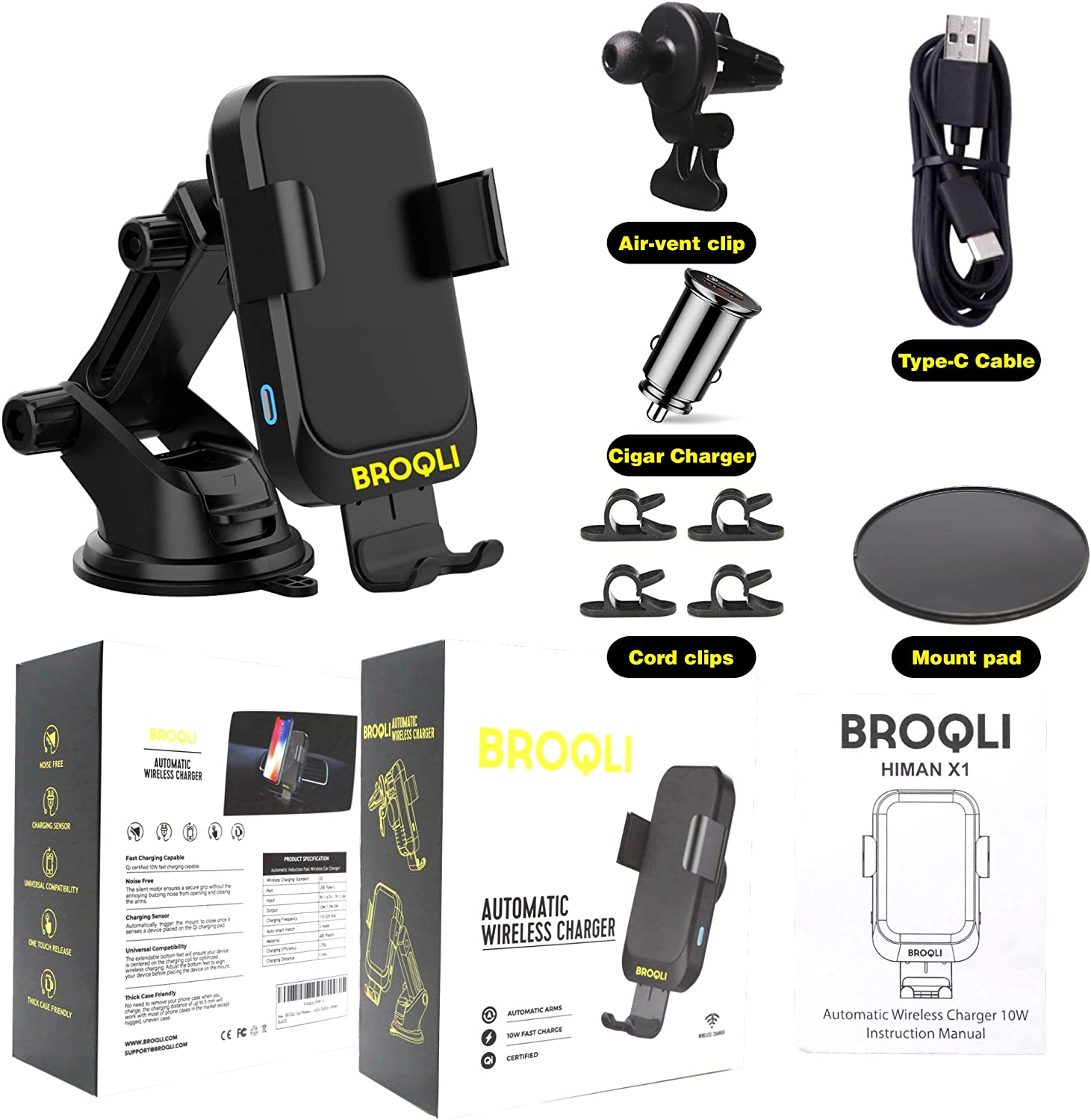 HIMAN Black One Touch Automatic Clamping Qi Cell Phone 10W Power Charging Air Vent Dashboard Holder iPhone X//Xs Max//XR//8//8+,Galaxy S10//S10+//S9//S9+//S8//S8+ BROQLI Fast Wireless Car Charger Mount Kit