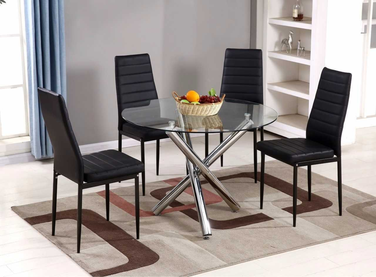 FurnitureboxUK® Selina Chrome Round Glass Round Dining Table (Dining Table Only)