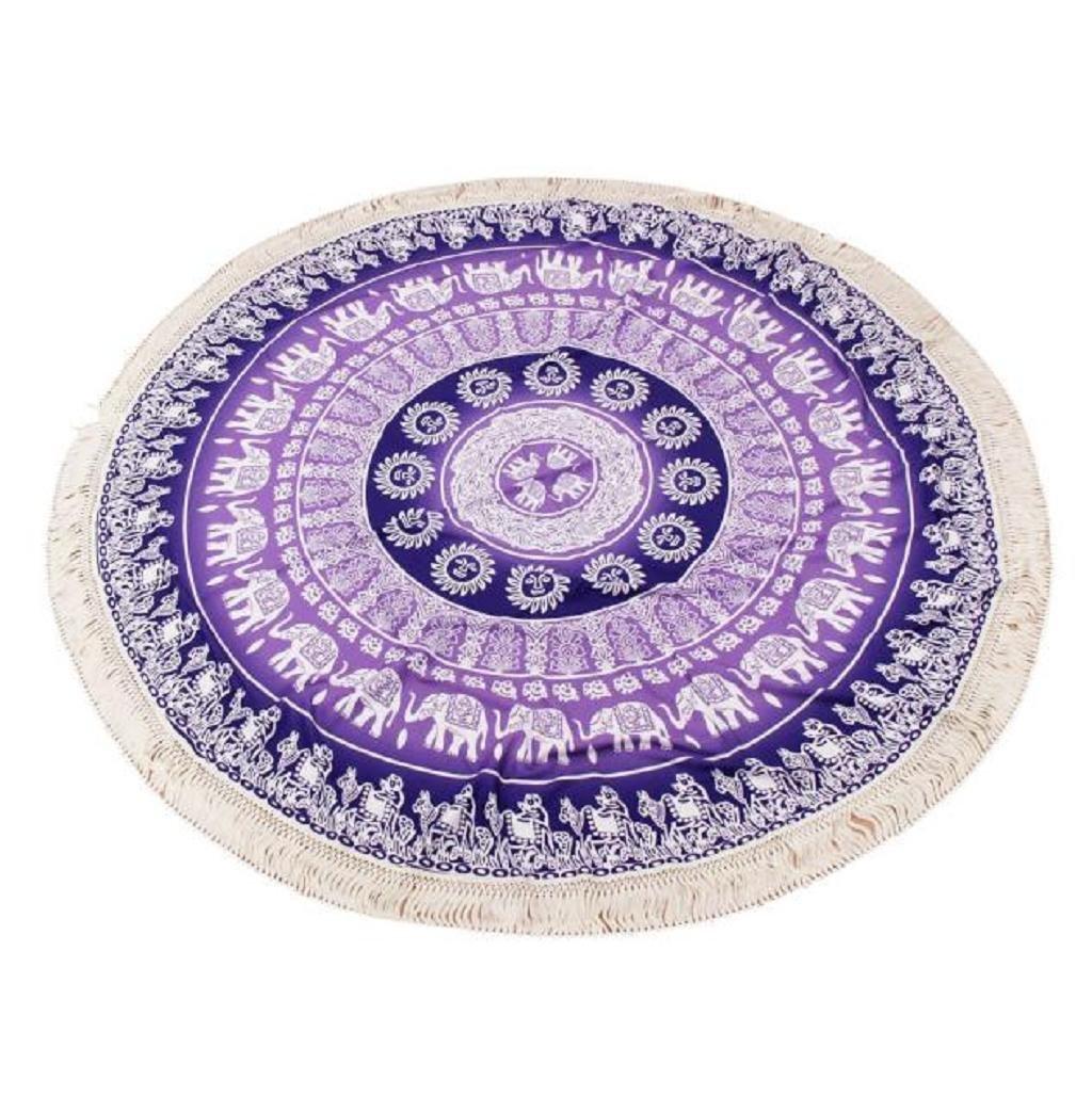 Toallas de playa, Sannysis Indian Mandala Roundie Beach Throw Tapestry Hippy Table Cloth Yoga Mat (A) [Clase de eficiencia energética A+++]