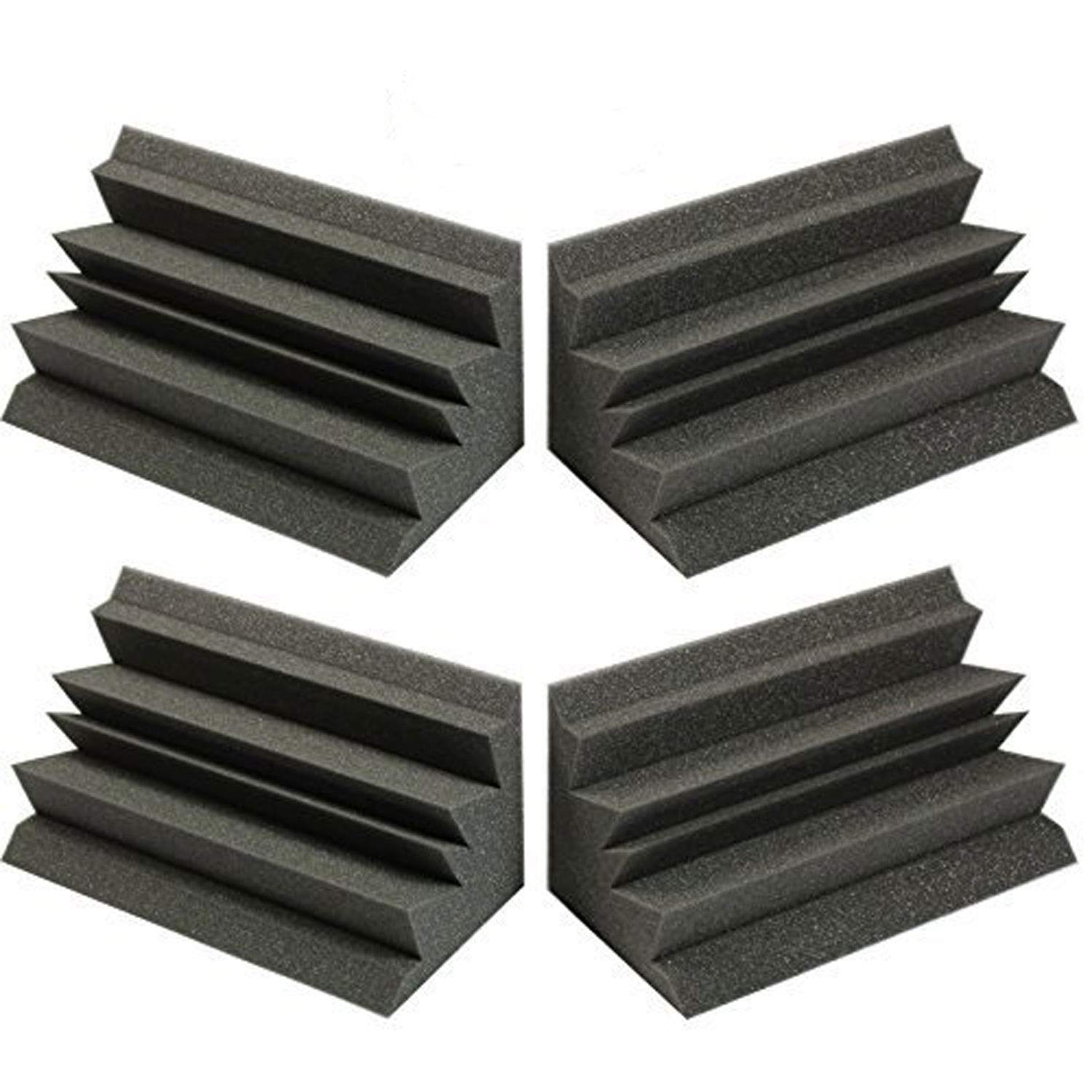 4 PACK - Acoustic Foam XL Acoustic Studio Soundproofing Corner Wall 12'' X 6'' X 6''- Made in USA (Set of 4) by Mybecca