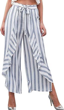 Verano Elegantes Moda Pantalones Anchos Mujer Flecos Elastische Taille Bandage Con Lazo Volantes Bastante Anchos Pantalones Falda Pantalones Baggy Largos Pantalones De Cintura Alta Moderno Amazon Es Ropa Y Accesorios