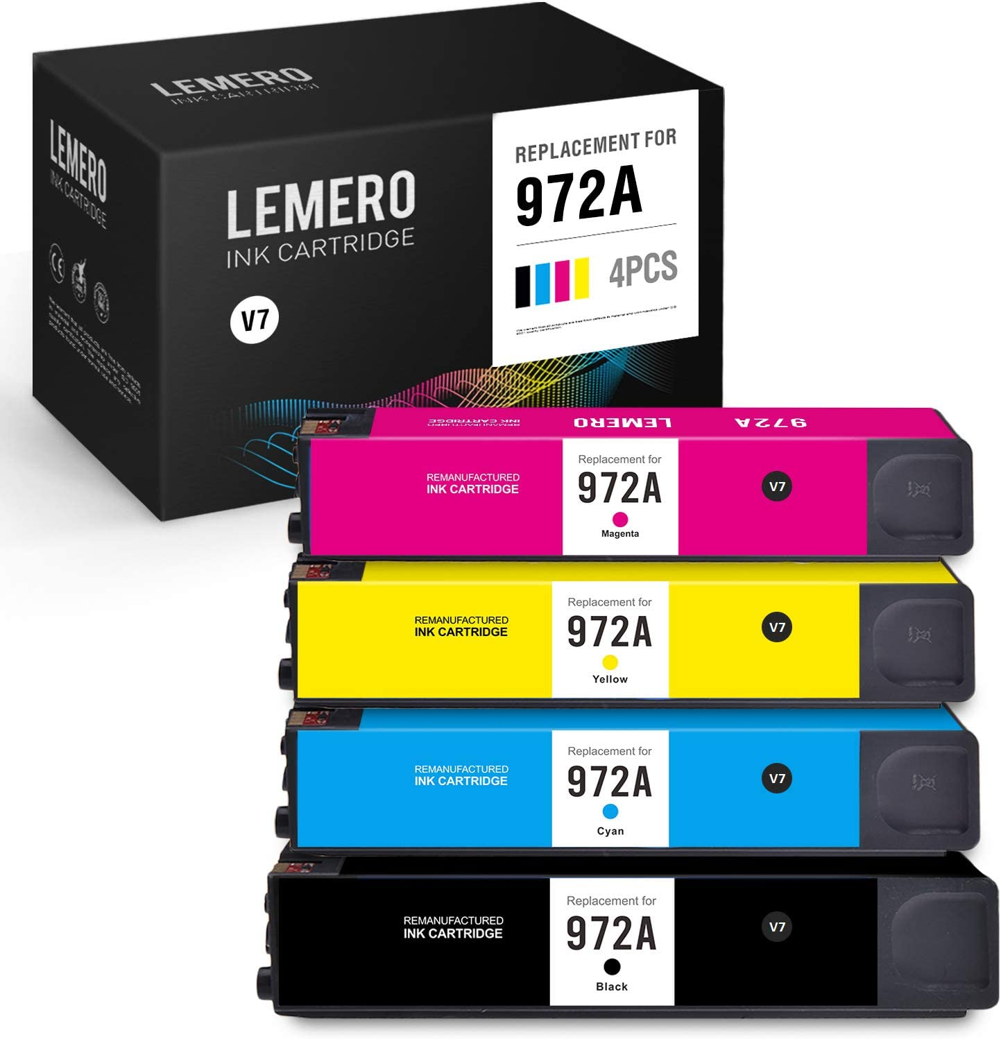 LEMERO V7 Remanufactured Ink Cartridge Replacement for HP 972A 972X 972 to use with Pagewide Pro MFP 577dw 477dw 477dn Pro 452dn 452dw 552dw P57750dw (Black Cyan Magenta Yellow, 4-Pack)